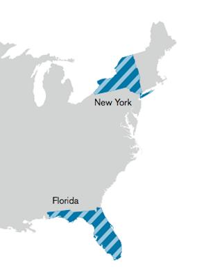 New York and Florida